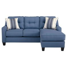 Starboard sofa chaise from Jennifer Furn. 80x60x38 in blue, grey or white. Button tufted back. $599.99 Also sofa 84x38x38 and loveseat 61x38x38 $799.99 for pair (_20%)