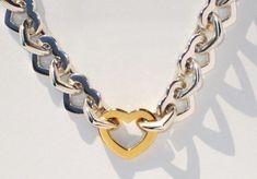 8ad3b7784 </b> IMPRESSIVE VINTAGE Tiffany & Co Sterling/18K Gold Heart Link Bracelet  8