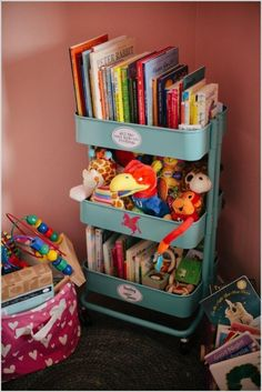 IKEA Raskog cart for more order in the nursery. IKEA Raskog cart for more order in the nursery. Ikea Toy Storage, Storage Hacks, Storage Ideas, Storage Systems, Storage Solutions, Storage Cart, Bedroom Storage, Stuffed Toy Storage, Book Storage Kids