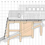 Ennis House | Ennis House section drawing looking west.