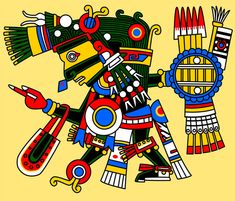 Tezcatlipoca: 'The Smoking Mirror'. God of the night sky, ancestral memory, time and the Lord of the North, the embodiment of change through conflict. Together with his eternal opposite Quetzalcoatl, he created the world. In this process, he lost his foot when he used it as bait for the Earth Monster Cipactli. The Black Tezcatlipoca, he appears in the codices with a smoking mirror on his head, and in other instances, the mirror substitutes for one of his feet.