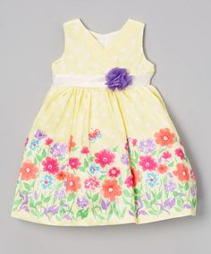 This Light Yellow Floral Surplice Dress - Infant, Toddler & Girls by Nannette is perfect! #zulilyfinds