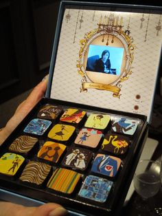 Special box of chocolates from Marie Belle in Kyoto.  Light-Censored video message, built into the case!  Revolutionary!