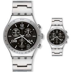 專櫃正品斯沃琪 Swatch 手表 2014 計時男表 勁風 墨黑色 YCS564G