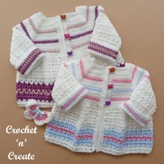 Butterfly Baby Crochet Jacket - Adorable baby sweater pattern to match with my butterfly baby blanket, a sweet delicate design made in an easy . Crochet Bebe, Crochet For Kids, Free Crochet, Free Baby Patterns, Baby Sweater Patterns, Crochet Baby Cardigan, Crochet Jacket, Crochet Girls Dress Pattern, Crochet Patterns