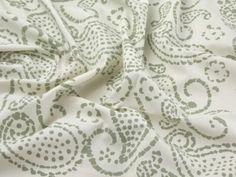 Hand Printed Paisley Batik Cotton Dress Fabric Cream £7.99 U.K.-33051
