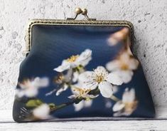 Blue and White Blossom Floral Satin Inch Clasp Purse Frame Clutch Bag Floral Clutch Bags, Floral Clutches, Shoulder Purse, Satin Fabric, Purses And Bags, Coin Purse, Blue And White, Frame, Picture Frame