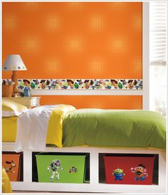 disney border for kids Orange Wallpaper, Peel And Stick Wallpaper, Toy Story Bedroom, Toy Story Theme, Custom Wall Decals, Toddler Rooms, Toy Rooms, Kid Beds, Young Man