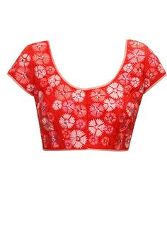 Orange and pink flower embroidered blouse available only at Pernia's Pop-Up Shop.
