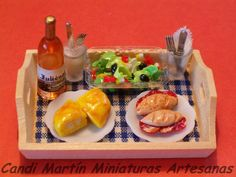 1/12 Scale - Informal Lunch on Tray - Dollhouse miniature food by CANDI MARTÍN