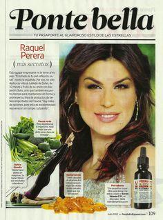 "Raquel Perera reveals her beauty secrets in the ""People"" magazine spanish edition. www.matriskinamerica.com"