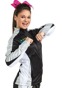 Metallic Defiance Jacket Adult from Team Cheer. What a flashy warm up!