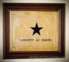 Framed Liberty Or Death Flag - Texas Battle Flag