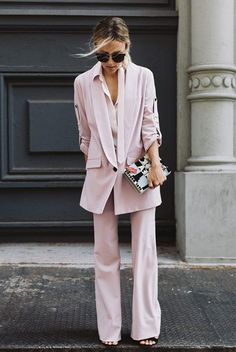 The Best Outfit Ideas Of The Week: Fashion blogger 'Damsel In Dior' wearing a blush blazer, blush wide leg pants, black heeled sandals, a white shirt and black sunglasses. Spring outfit, summer outfit, fall out