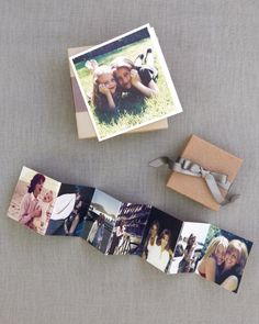This bride gave her mom an accordion card of photos of them together over the years, and her sister a card with a favorite pic of them as kids. A bracelet and ring were tucked inside each beribboned box.