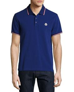 MONCLER Tipped Piqué Polo Shirt. #moncler #cloth #