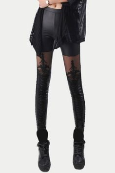 Fashionable Lace Embroidered PU Leather Spliced Leggings For Women