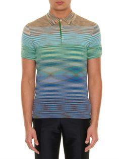 Missoni Striped fine-knit cotton polo shirt