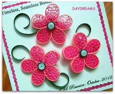 DAYDREAMS: Quilled pink flowers Diy Paper, Paper Art, Paper Crafts, Quilling Craft, Paper Quilling, Wedding Quilling Ideas, Small Flowers, Pink Flowers, Quilling Techniques