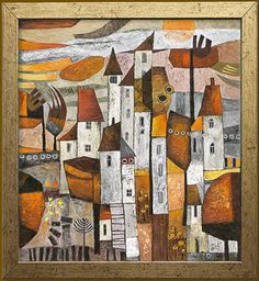 SOLD: 'Medieval Village', 55cm X 60cm