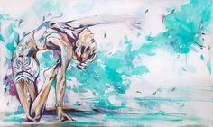 Saltwater Breeze, Hannah Adamaszek. Street Art. Spray Paint and Acrylic on canvas. Hannah Adamaszek's original works are both delicate and subtle yet full of energy and life and would make a statement in your hallway, bedroom or living room.