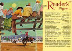 """Reader's Digest, front and back cover, September 1967 Illustration: """"Rodeo Time"""" byRobert T. Handville"""