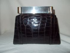 Wonderful vintage Art Deco 20's crocodile skin clutch handbag purse by VintageHandbagDreams on Etsy