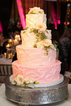 pink watercolor wedding cake; photo: Lightly Photography;