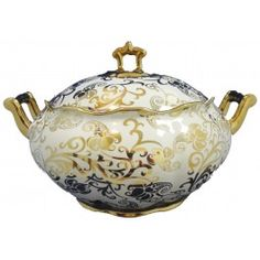 "soup tureen | ... , CHESTS, SOUP TUREENS > Obatala Soup Tureen with Gold Accents 11""x6"