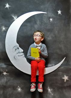 Boy on the Moon - Space FTLOB,     La Petite Magazine #9   For the Love of Books: Moon & Stars via Flickr.