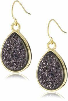 "Marcia Moran ""Regal"" 18k Gold-Plated Purple Metallic Small Drop Earrings Marcia Moran. $163.00. Made in Brazil. Made in BR"