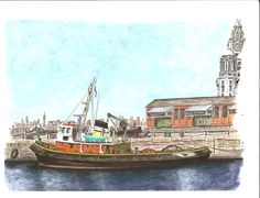 """The retired tug """"Brocklebank"""" moored in Albert Dock, Liverpool, as part of the National Maritime Museum collection. Medium: watercolor on x watercolor paper. Maritime Museum, Art Sites, Automotive Art, Museum Collection, Limited Edition Prints, Watercolor Paper, Sculpture Art, Liverpool, Abstract Art"""