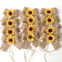 Sunflowers Burlap Mason Jars Bows / Small Burlap Bows Decor w