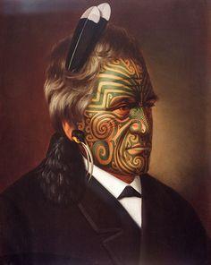 Tomika Te Mutu, chief of the Ngaiterangi tribe, Bay of Plenty, New Zealand, oil painting by Gottfried Lindauer Maori Face Tattoo, Ta Moko Tattoo, Face Tattoos, Maori Tattoos, Polynesian Tattoos, Polynesian People, Zealand Tattoo, Maori People, New Zealand Art