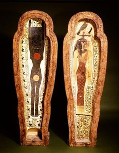 Ancient Egyptian coffin for the mummy of Peftjauneith; the inside, top, shows the sky goddess Nut, the sun, moon and stars and hours of day and night; the bottom shows the goddess of the West. (Rijksmuseum van Oudheden) unusual depiction!