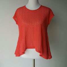 Modcloth Coral Pointelle Boho Summer Sweater by Ya EUC.  Perfect Summer Sweater. Would be cute over a white dress.or tank. Pair it with jeans shorts . Ya Los Angeles Tops Blouses