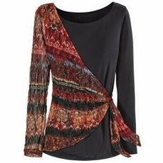 Sash Shoulder Top - Available today at Catalog Favorites. Shop for casual and novelty clothing, T-shirts, accessories, jewelry & décor. Sewing Clothes, Diy Clothes, Mode Batik, Diy Fashion, Fashion Dresses, Unique Clothes For Women, Raglan Shirts, Pulls, Blouse Designs
