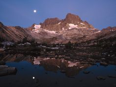 Ritter Range and Garnet Lake at Moonset, Ansel Adamd Wilderness, CA
