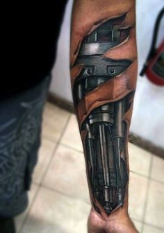 50 Ripped Skin Tattoo Designs For Men – Manly Torn Flesh Ink Sleeve tattoos for men that cover wrists Tattoos 3d, Tattoos Arm Mann, Bild Tattoos, Forearm Tattoos, Body Art Tattoos, Sleeve Tattoos, Cyborg Tattoo, Biomech Tattoo, Biomechanical Tattoo Design