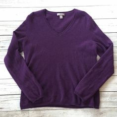 Purple Cashmere Sweater Pretty deep purple cashmere sweater. Great quality from Charter Club. Has some kind of fluffiness to the fabric from some washing/wear. Very soft! Charter Club Sweaters Crew & Scoop Necks