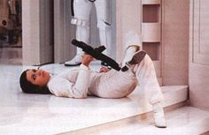 Carrie Fisher on the set of The Empire Strikes Back. I hear there's a lot of down time between shots...