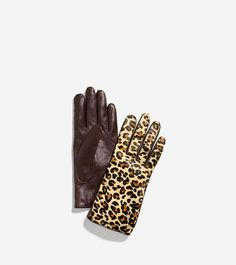 f4cf40fa71841 Cole Haan Mahogany- Leopard Haircalf Leather Gloves 37% off retail
