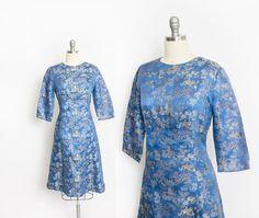 Vintage 1960s Dress  Royal Blue Embroidered Satin Asian