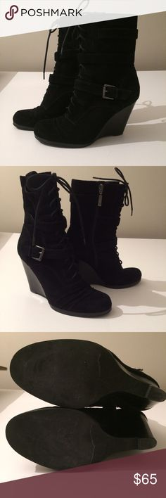 Guess | Wedge Heel Boots Guess wedge heel suede boots. Guess Shoes Lace Up Boots