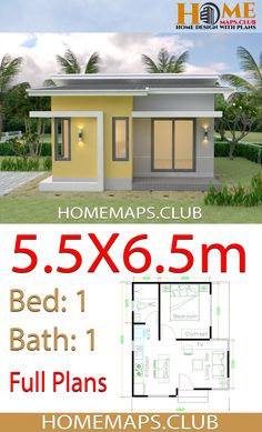 Small House Plans with One Bedroom Shed roof The House has:-Car Parking and garden-Living room,-Dining Bedrooms, 1 bathroom My Home Design, Small House Design, Home Design Plans, Circle House, Cabin Floor Plans, Shed Roof, Shed Homes, Garden Living, Small House Plans