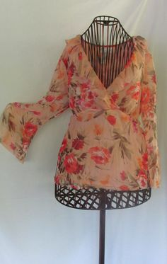 Peach Floral Chiffon Blouse Angel Slit Sleeves Worthington Vintage Blouse  90s Womens XL Blouse  22.00 ReVintageBoutique da5d79cc22c