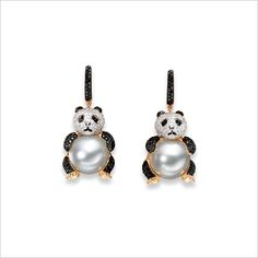 A Pair of South Sea Cultured Pearl and Diamond  'Panda' Pendent Earrings