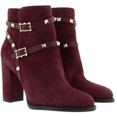 Valentino Boots & Booties - Rockstud Bootie Suede Rubin - in red -... (2.763.850 COP) ❤ liked on Polyvore featuring shoes, boots, ankle booties, ankle boots, red, studded booties, suede boots, red boots and suede booties