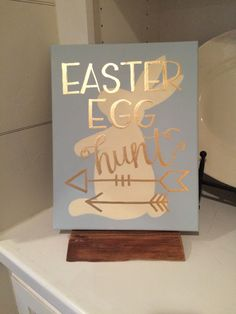 Easter Egg Hunt sign in Modern Calligraphy with Bunny Silhouette & Arrows by islandcalligrapher on Etsy