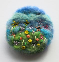 Needle felted brooch - floral needle felted brooch - fibre pin - needle felted pin - flower garden brooch - clothing accessory - uk seller by itsaMessyNest on Etsy